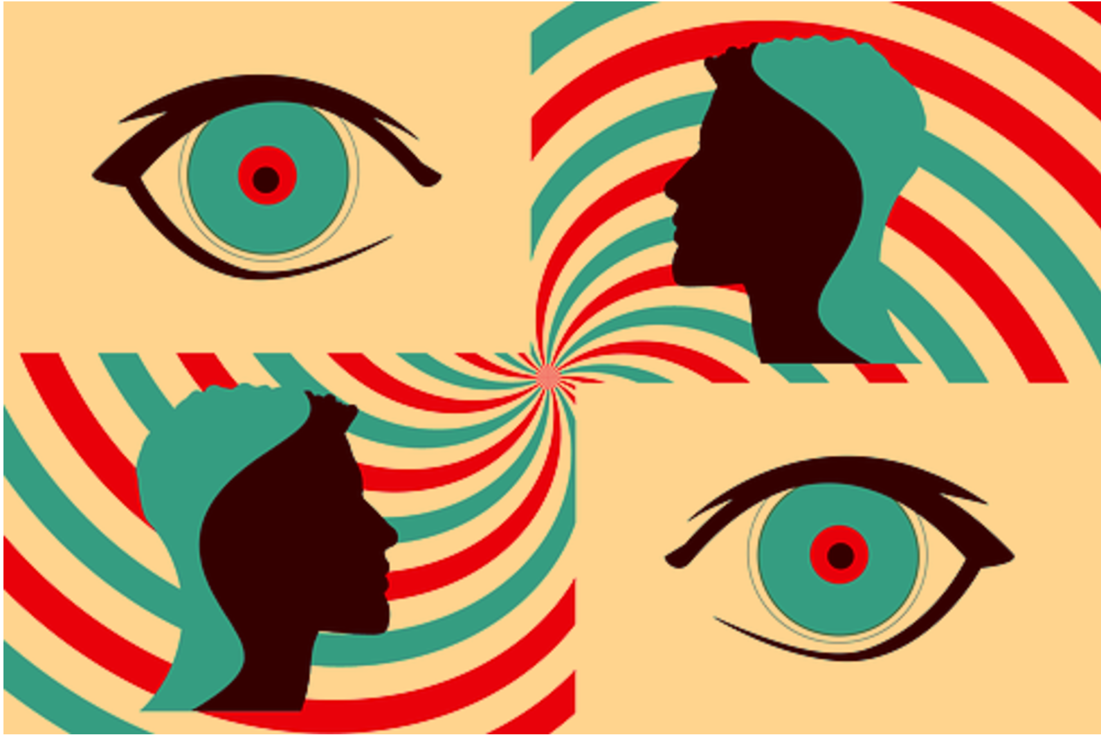 eyes and heads depicting anxiety
