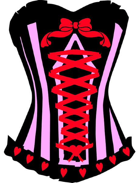 Drawing of a laced corset